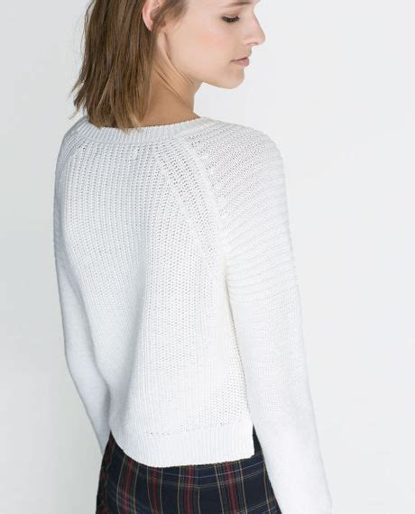 cropped sweater zara cropped knitted sweater in white lyst