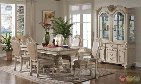 Betty Antique Traditional Light Wood Formal Dining Set with Buffet and Hutch RPCMO30
