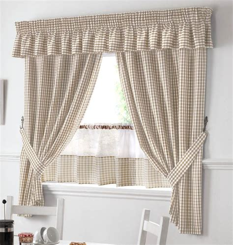 gingham cafe curtains beige and white gingham kitchen curtains pelmet 18 cafe