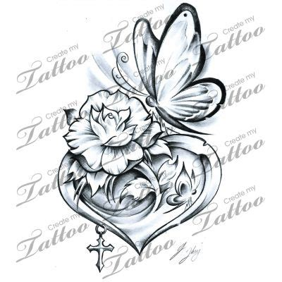 hearts and butterfly tattoo designs and ribbon designs clipart free