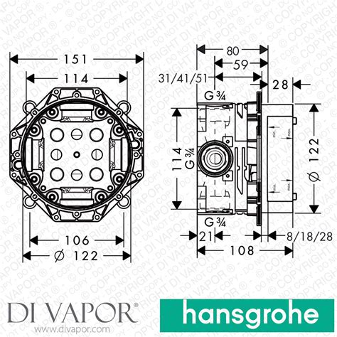 2 Di Ibox hansgrohe 01800180 ibox universal basic set for all hansgrohe concealed shower mixer valves
