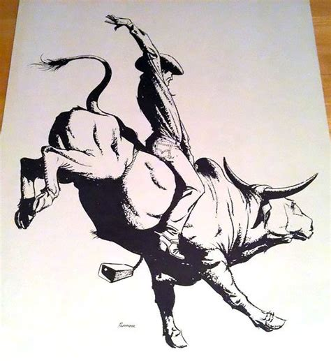 bull riding tattoo design