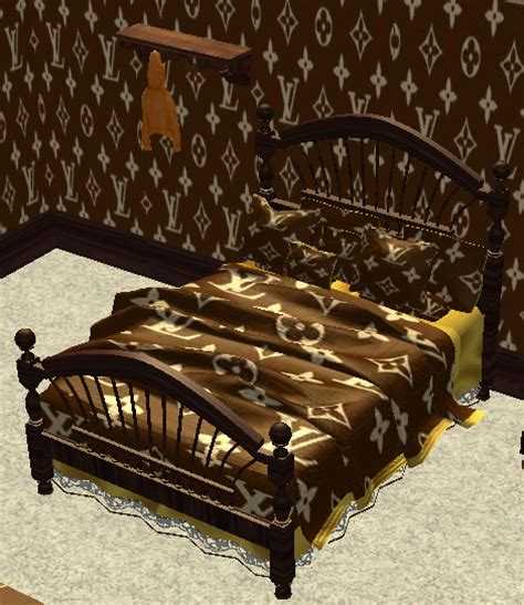 Louis Vuitton Bed Set by S A Sims 2 And 4 Louis Vuitton Brown Cottage