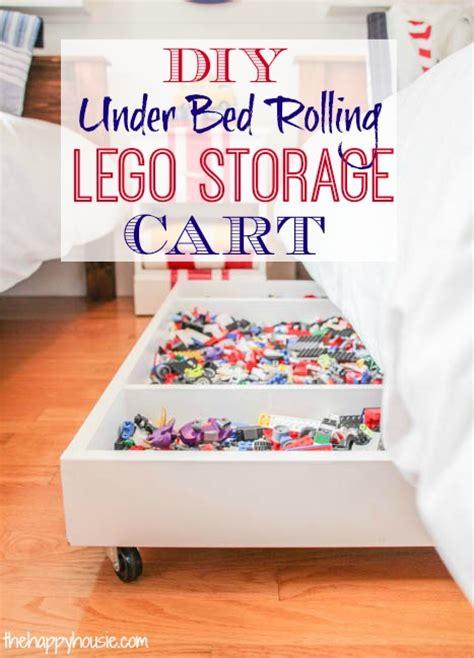 diy  bed rolling lego storage cart  happy housie