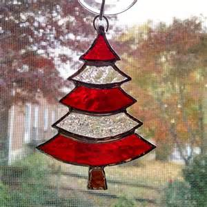 stained glass christmas tree ornament suncatcher red and