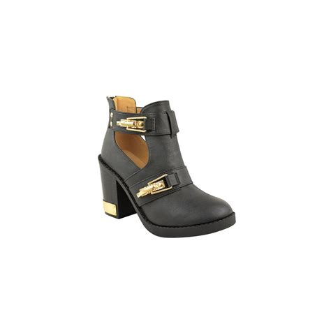 levi black block heel gold clasp ankle boots from parisia