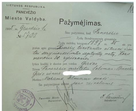 Birth Records Before 1919 Lithuania Passports Database 1919 1940