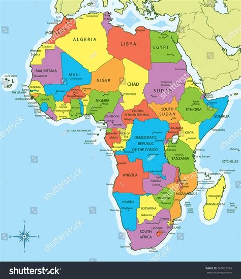 africa map 2011 vector illustration of new 2011 africa map with countries