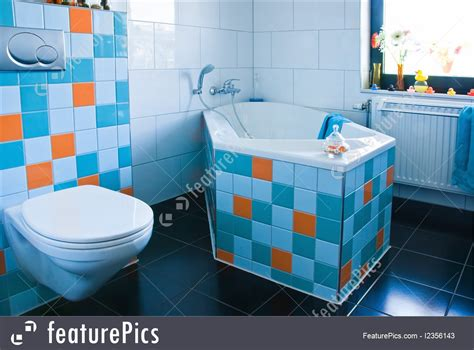 Picture Of Colorful White And Blue Bathroom With Black Floor
