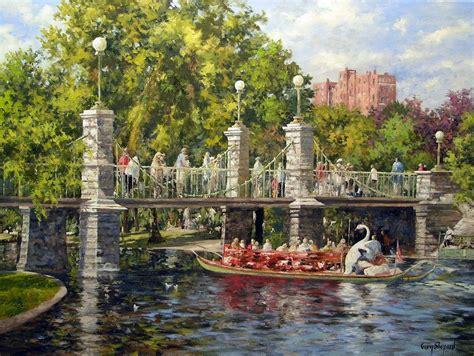boston swan boats art boston swan boat painting by gary shepard