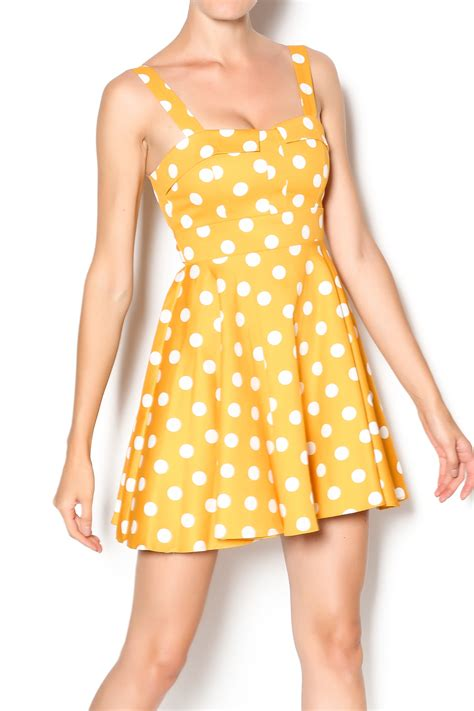 Polka Dress Hq 1 ixia mustard polka dot dress from california by mp couture shoptiques