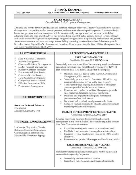 Resume Profile Exles Sales 10 Career Sales Manager Resume Writing Resume Sle