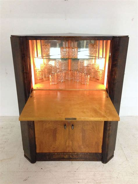 Lighted Bar Cabinet with Deco Burl Wood Lighted Bar Corner Cabinet At 1stdibs