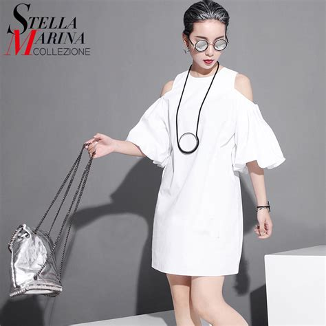 2017 korean style summer chiffon sun dress lantern sleeve shoulder casual black white