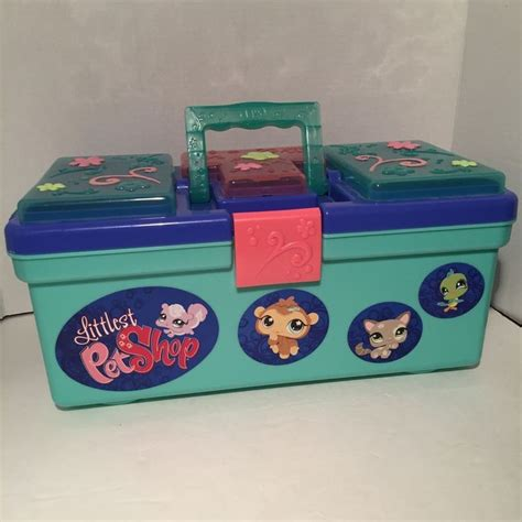 Box Pets littlest pet shop tackle box storage carrying w handle hold lps dogs cats shops cats