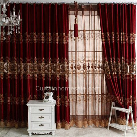 Burgundy fancy embroidered window curtains for bedroom or living room