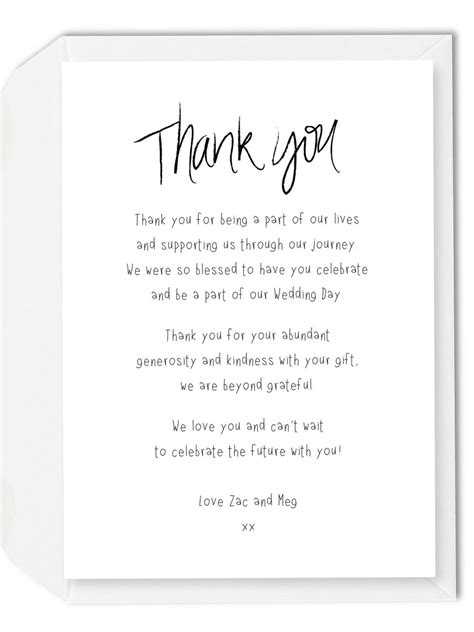 wedding thank you card wording template wedding gift thank you card wedding o