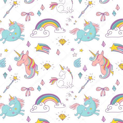unicornia pattern magic hand drawn pattern unicorn rainbow and fairy
