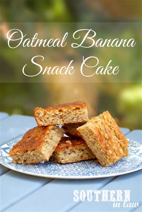 southern in law recipe banana oatmeal snack cake with healthy cream cheese frosting