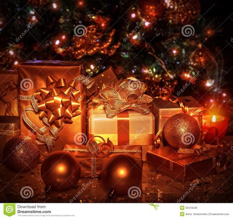 christmas gifts under tree stock photo image of