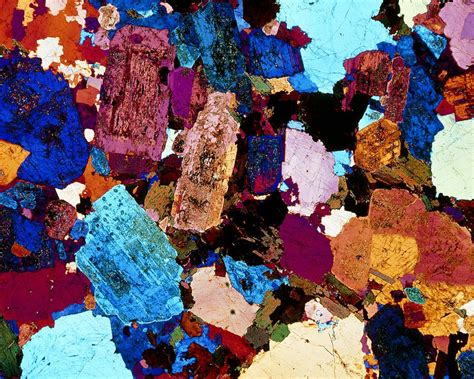 diorite thin section polarised lm of grain diorite in thin section photograph