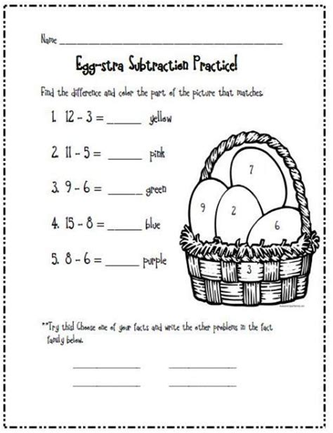 april s learning center a worksheet after a math lesson