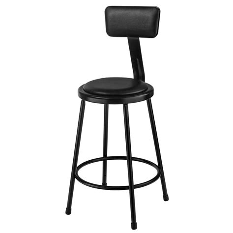 Science Lab Stools With Backs by National Seating Black 24 Quot H Padded Steel Stool