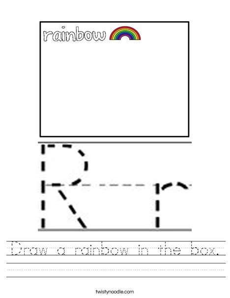 r is for rainbow worksheet twisty noodle draw a rainbow in the box worksheet twisty noodle