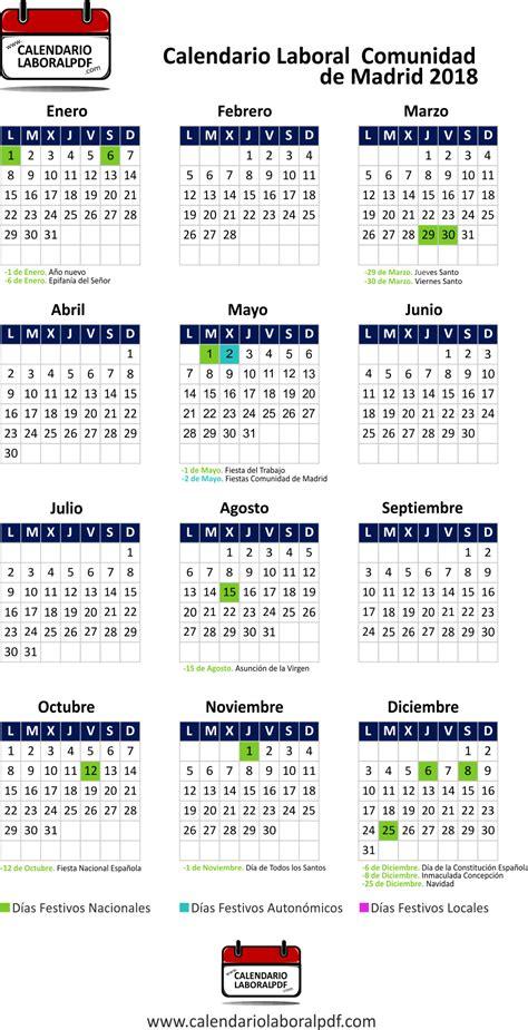 Calendario 2018 Sevilla Calendario Laboral De Madrid 2018 161 Desc 225 Rgalo Gratis