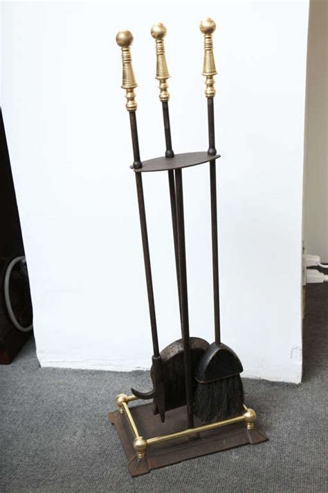 Fireplace Tool Set Sale by Brass And Black Metal Fireplace Tool Set For Sale At 1stdibs