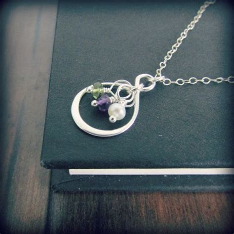 Infinity Cus Personalized Sterling Silver Family Infinity Birthstone