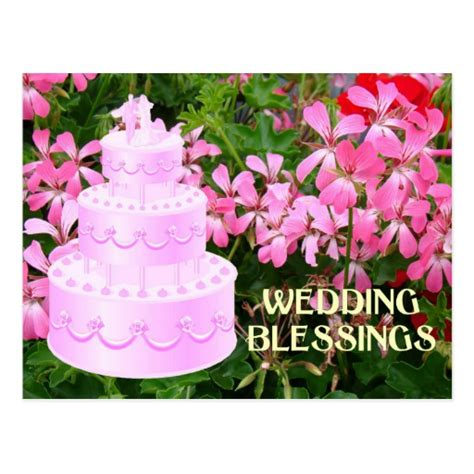 Wedding Blessing Cakes by Wedding Blessing Cake And Flowers Postcard Zazzle