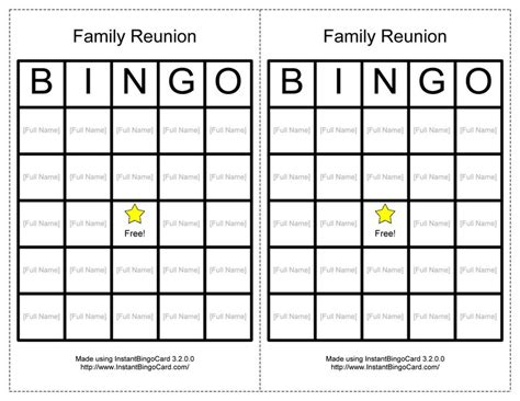 family bingo card template 7 best images of free printable word family bingo