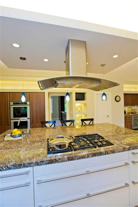 floating hood over kitchen island in bay area remodel