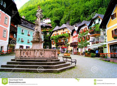 quaint city quaint austrian square stock photo image of homes colorful 31039246