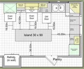Distance Between Island And Cabinets by Kitchen Layouts With Island 10k Kitchen Remodel Island