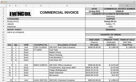 commercial invoice packing list template commercial invoice packing list invoice template ideas
