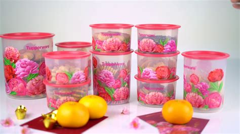 Set Tupperware Malaysia blooming peonies one touch set tupperware brands