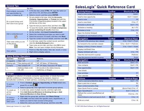 reference guide template sales logix reference