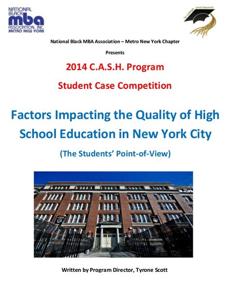 National Black Mba Association Los Angeles Chapter by 2014 Factors Impacting Quality Of Hs Education In Nyc
