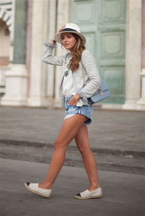 Kickers Slip On Brown Denim picture of comfy look with espadrilles denim shorts and hat