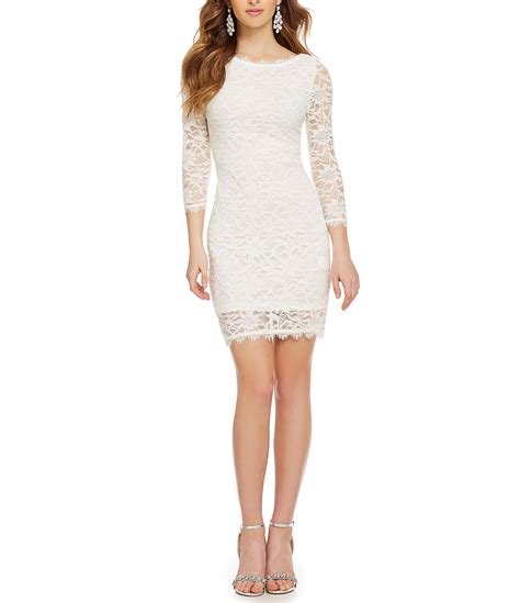 jump eyelash lace illusion  sleeve sheath dress dillards