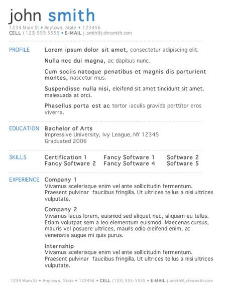 Resume Format Exles Word 5 Free Resume Templates Word