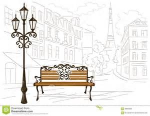 dessin au trait de d un banc et d une lanterne