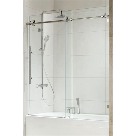 Bathroom Glass Sliding Shower Doors Republic 0asbs03 Trident Premium 3 8 Thick Clear Glass Frameless Sliding Shower Door In