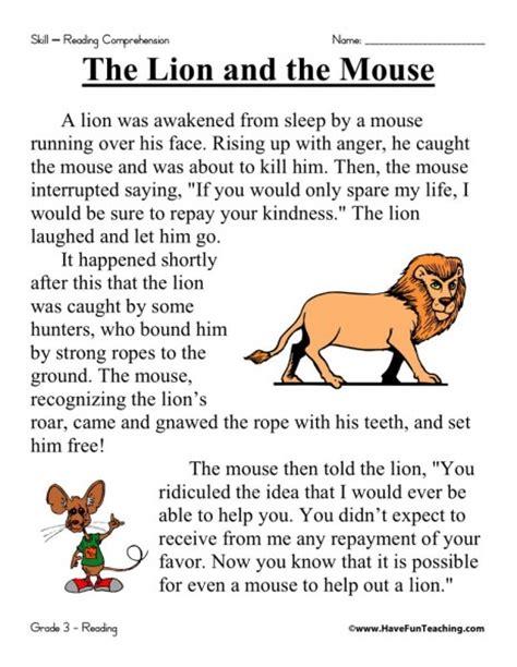 reading comprehension test practice 3rd grade reading comprehension worksheet the lion and the mouse