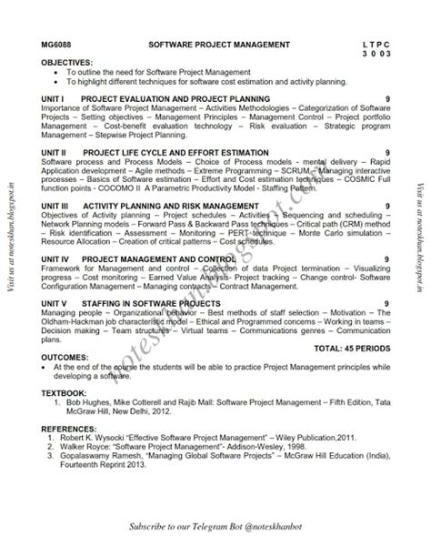 Mba Syllabus Regulation 2013 Affiliated College by Mg6088 Software Project Management Syllabus Semester Viii