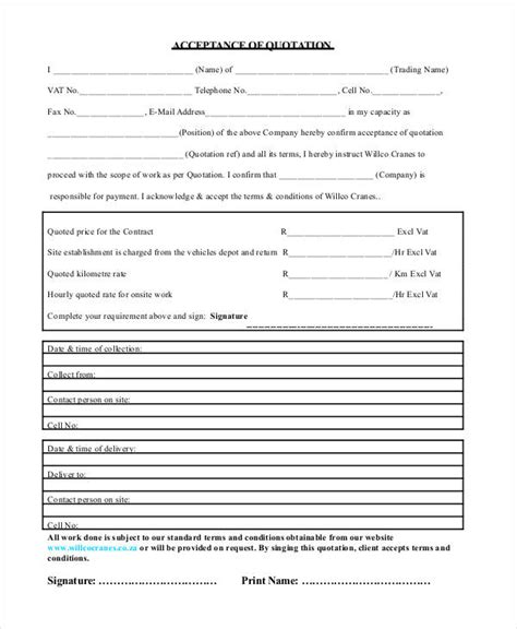 client acceptance form template quote acceptance form template work order sle with