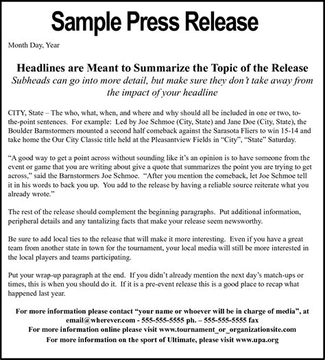 political press release template in the media press releases press contact attract