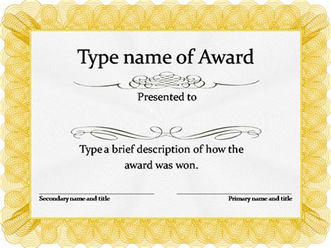 printable gold star certificate gold award certificate template pinteres
